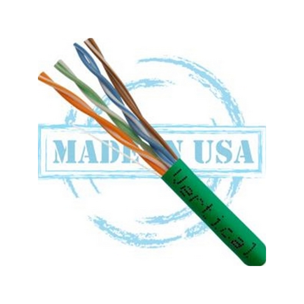 Vertical MADE IN USA, CAT5E, Plenum,  24AWG, UTP, 4 Pair, Solid Bare Copper, 350MHz, 1000ft Pull Box Green