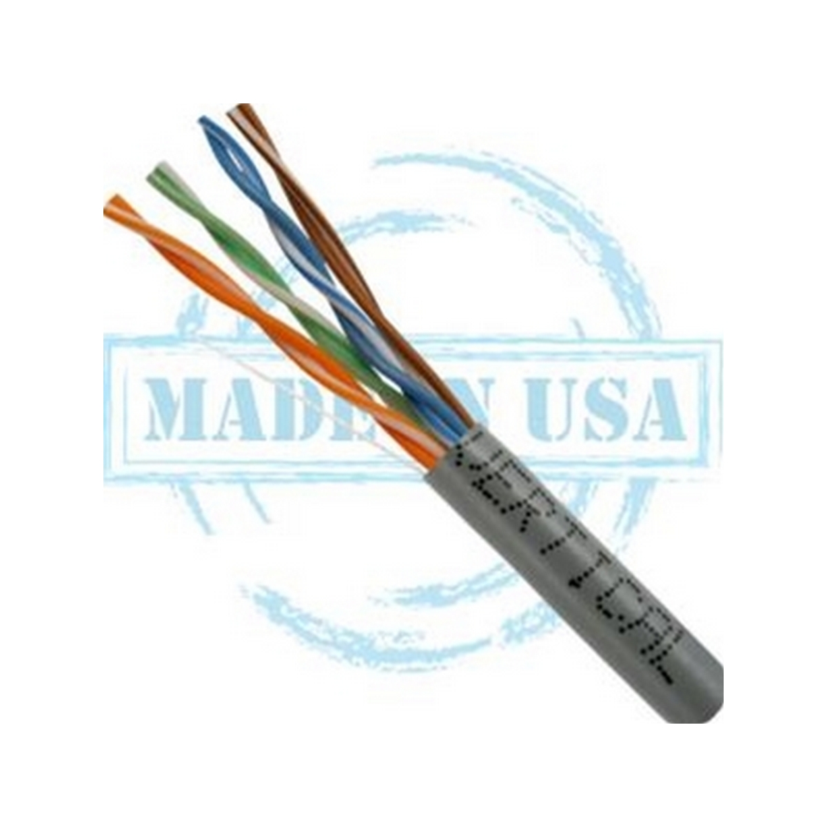 Vertical MADE IN USA, CAT5E, Plenum,  24AWG, UTP, 4 Pair, Solid Bare Copper, 350MHz, 1000ft Pull Box Gray
