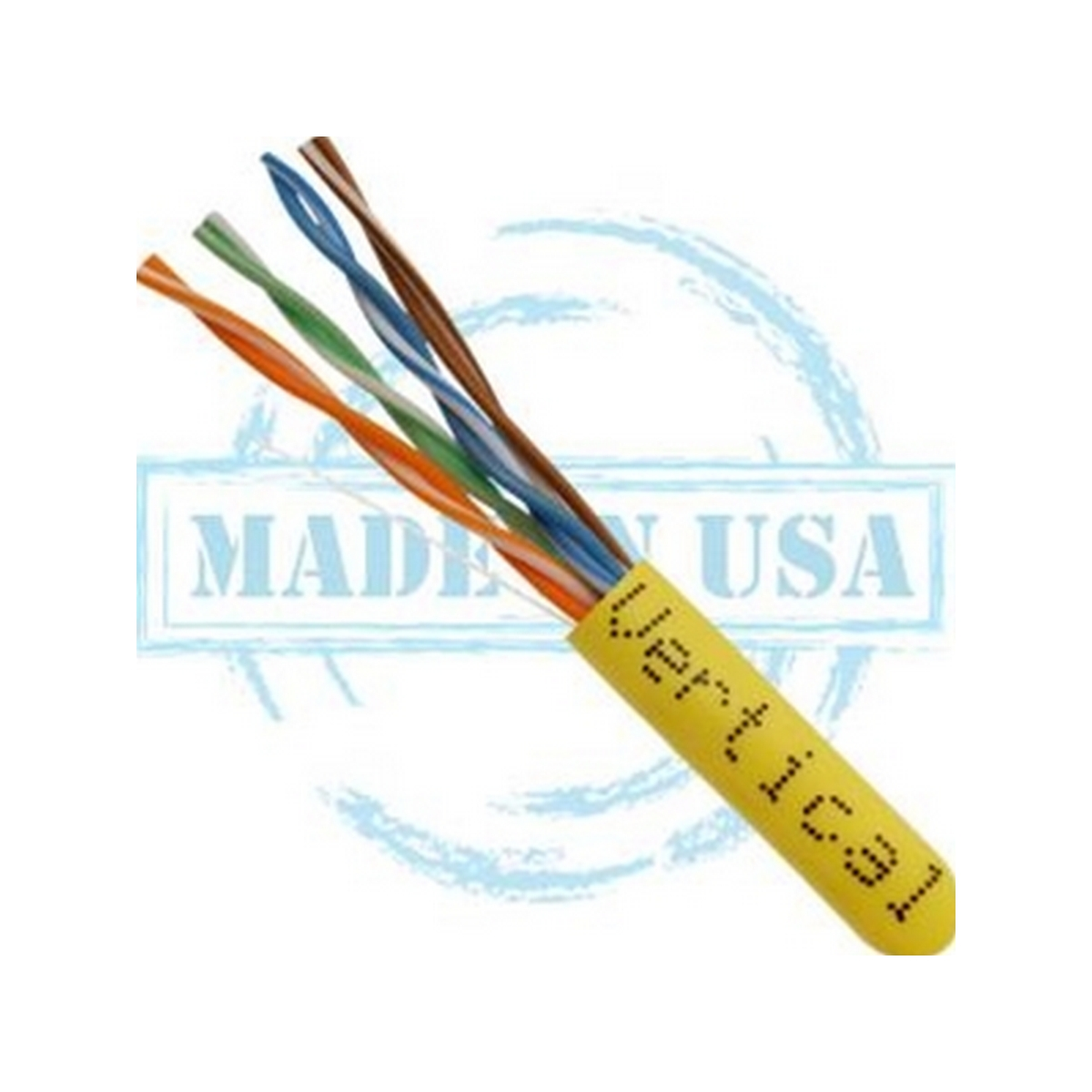 Vertical MADE IN USA, CAT5E, Plenum,  24AWG, UTP, 4 Pair, Solid Bare Copper, 350MHz, 1000ft Pull Box Yellow