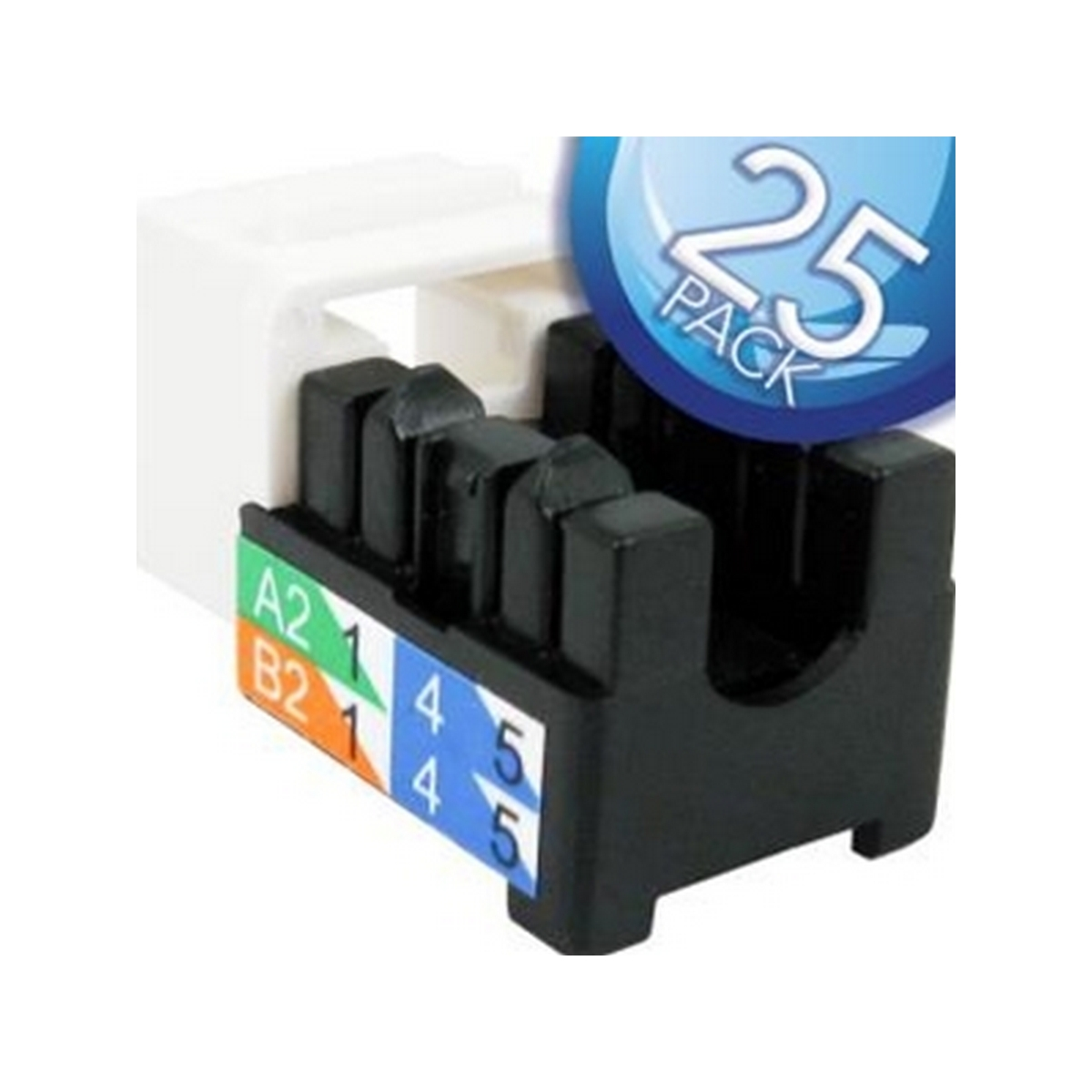 Vertical 302-J2509/WH/25 Cat6 Keystone 25 PACK CAT6 V-MAX U-JACK 8 POSITIONS 8 CONDUCTORS WHITE