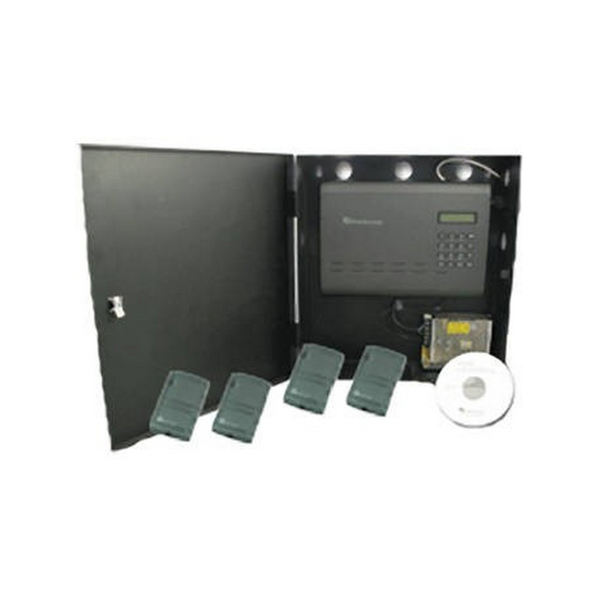 Everfocus NAV-04-1B 4 Door NAV kit with 1 pre-installed 2 door expansion, 4 single gang readers, includes desk top reader. Expandable to handle over 1000 readers.