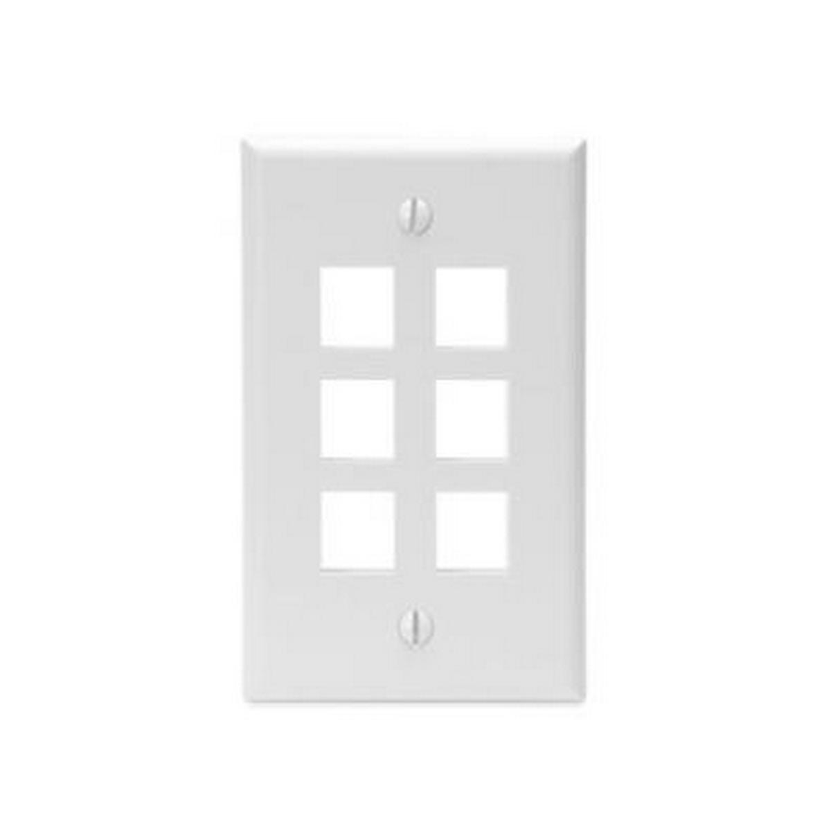 6-port, 1 gang, QuickPort Wallplate, single gang, white