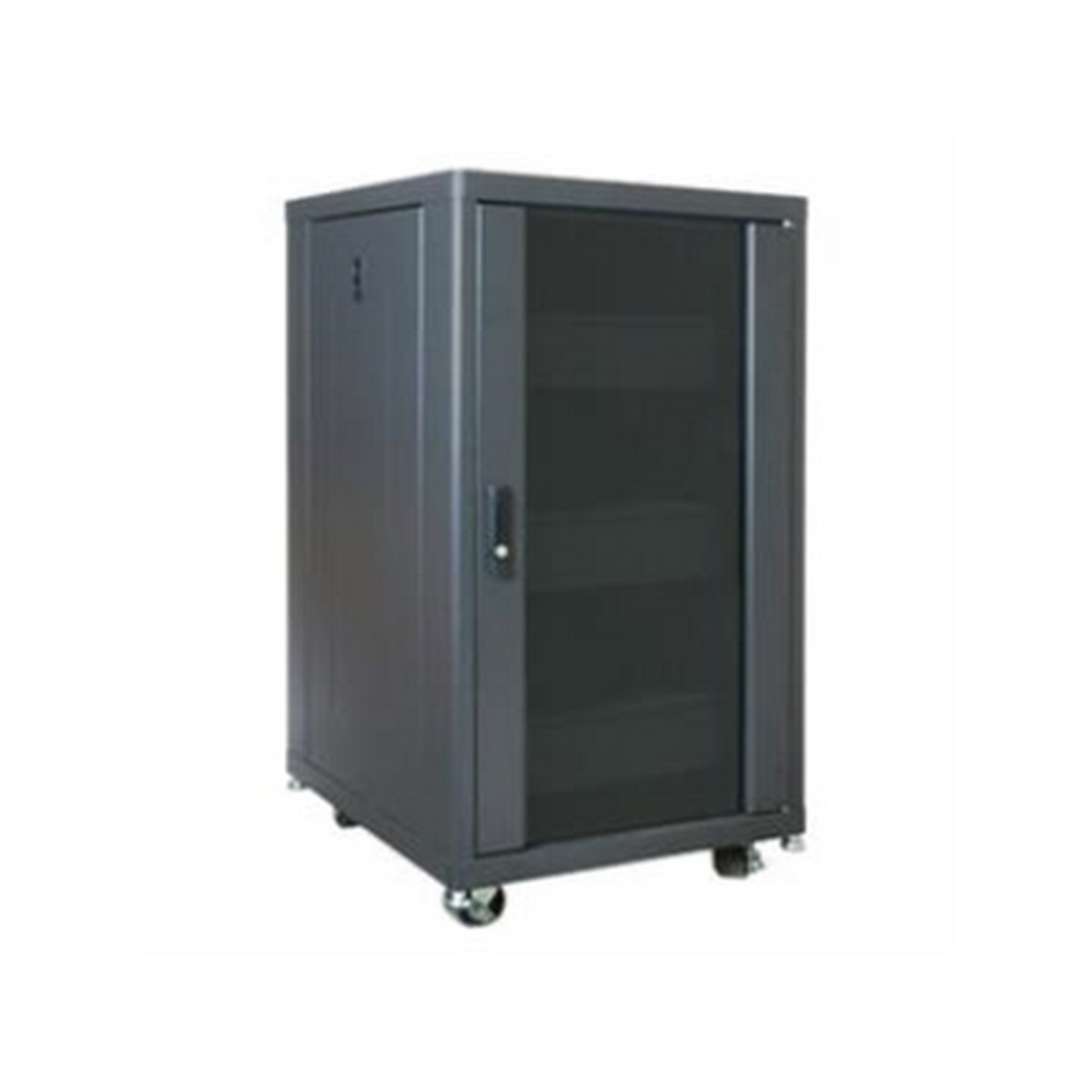 Lowell LCDR-4224 42 space all in one enclosed rack, 2 whisper fans,  9 (2U) steel shelves, 9 (2U) blank panels, Real glass door, open center, 2 holes with grommets