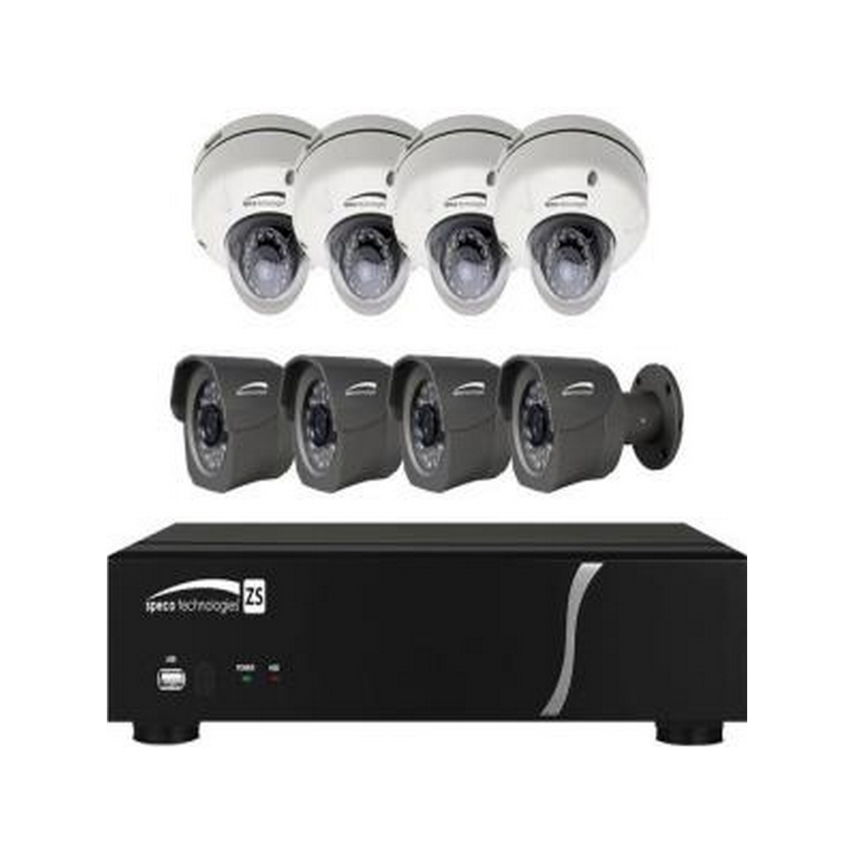 Speco 8 CH Plug-and-Play NVR 1080p, 240FPS, 2TB w/4 Outdoor IR Bullet and 4 Outdoor IR Dome 3.7mm lens