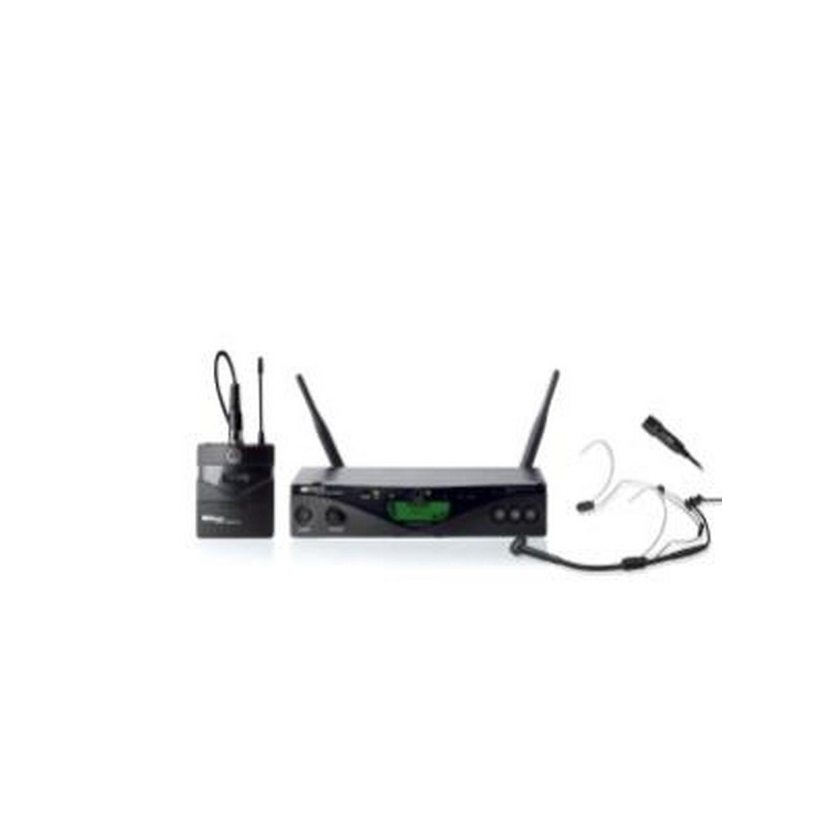 AKG WMS470 PRES SET BD7 50mW - Wireless bodypack microphone system, SR470 stationary receiver, PT470 bodypack transmitter, C555L headworn microphone, CK99L lavalier microphone, tie clip, belt clip, LR6 AA battery, power supply and rack mount unit included.
