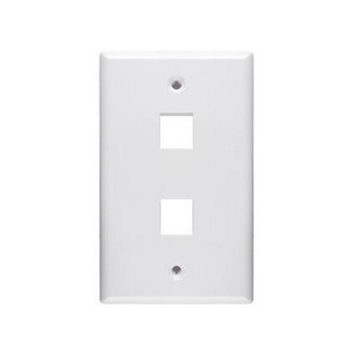 2 Port keystone 1 gang Wall plate White
