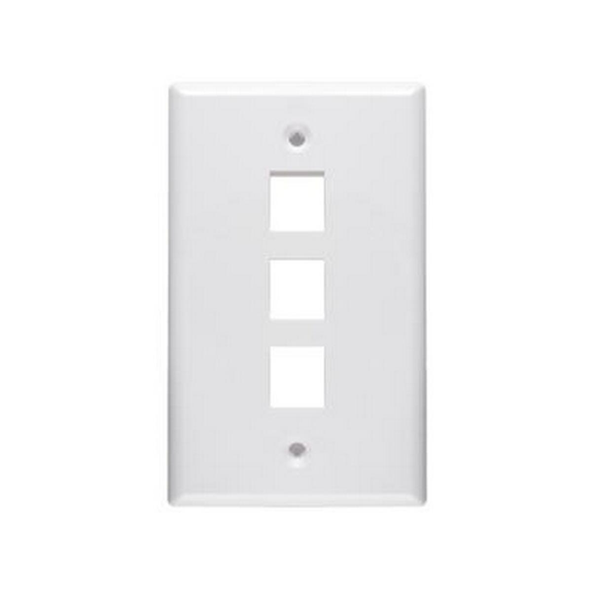 3 Port keystone 1 gang Wall plate White