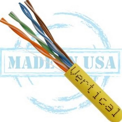 Vertical MADE IN USA, CAT6, Plenum,  23AWG, UTP, 4 Pair, Solid Bare Copper, 550MHz, 1000ft Pull Box Yellow