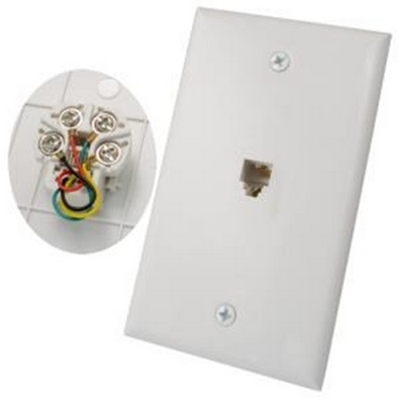 Vertical 4 conductor RJ11 wall plate with screws - white