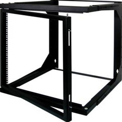 Vertical 12U swing out open frame rack
