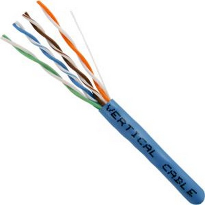 CAT5E, UTP, 1000FT, Blue PVC, 24AWG, Pull box, CMR