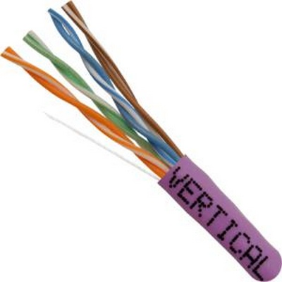 CAT5E, UTP, 1000FT, Purple PVC, 24AWG, Pull box, CMR