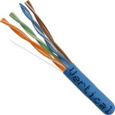 Vertical Cable 056-461/P/BL CAT5E UTP 1000' 8-CONDUCTOR BLUE-PLENUM JACKET, AWG24 SOLID -BARE COPPER, PULL BOX