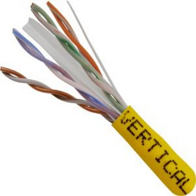 CAT 6 UTP, 1000FT ,Yellow PVC Pull box, CMR Rated