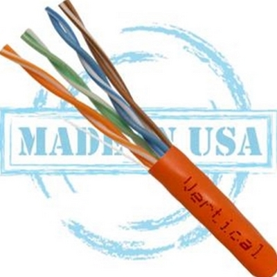 Vertical MADE IN USA, CAT5E, Plenum,  24AWG, UTP, 4 Pair, Solid Bare Copper, 350MHz, 1000ft Pull Box Orange