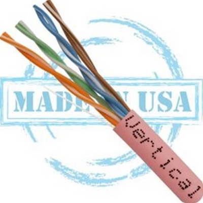 Vertical MADE IN USA, CAT5E, Plenum,  24AWG, UTP, 4 Pair, Solid Bare Copper, 350MHz, 1000ft Pull Box Pink