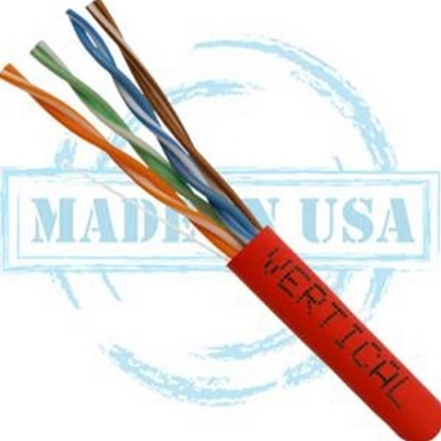 Vertical MADE IN USA, CAT5E, Plenum,  24AWG, UTP, 4 Pair, Solid Bare Copper, 350MHz, 1000ft Pull Box Red