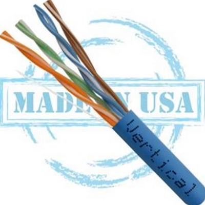 Vertical MADE IN USA, CAT5E, Plenum,  24AWG, UTP, 4 Pair, Solid Bare Copper, 350MHz, 1000ft Pull Box Blue