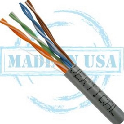 Vertical MADE IN USA, CAT6, Plenum,  23AWG, UTP, 4 Pair, Solid Bare Copper, 550MHz, 1000ft Pull Box Gray
