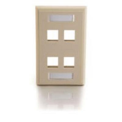 4 Port keystone 1 gang Wall plate White