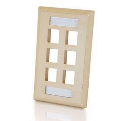 6 Port keystone 1 gang Wall plate White