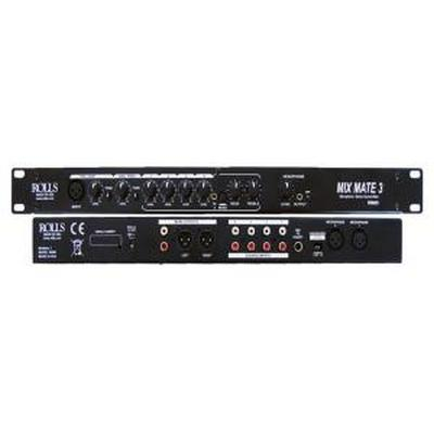 ROLLS RM69 six channel, single rack space, electronic audio mixer with two microphone inputs and four stereo line inputs.