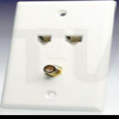 2 Port, TV and Data C5E Wall Plate White
